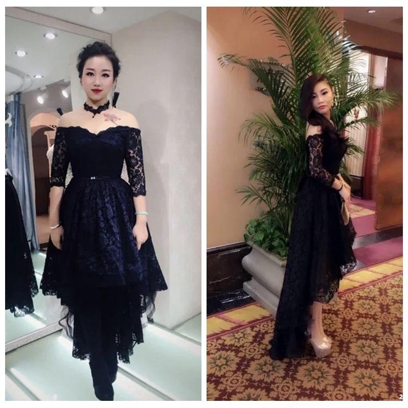 2019 Sexy Off 어깨 레이스 (High) 저 (High) 저 (Low) 레이스 Prom Dress Hi-Lo Vestidos 드 야회 Custom Short Special Occasion 자