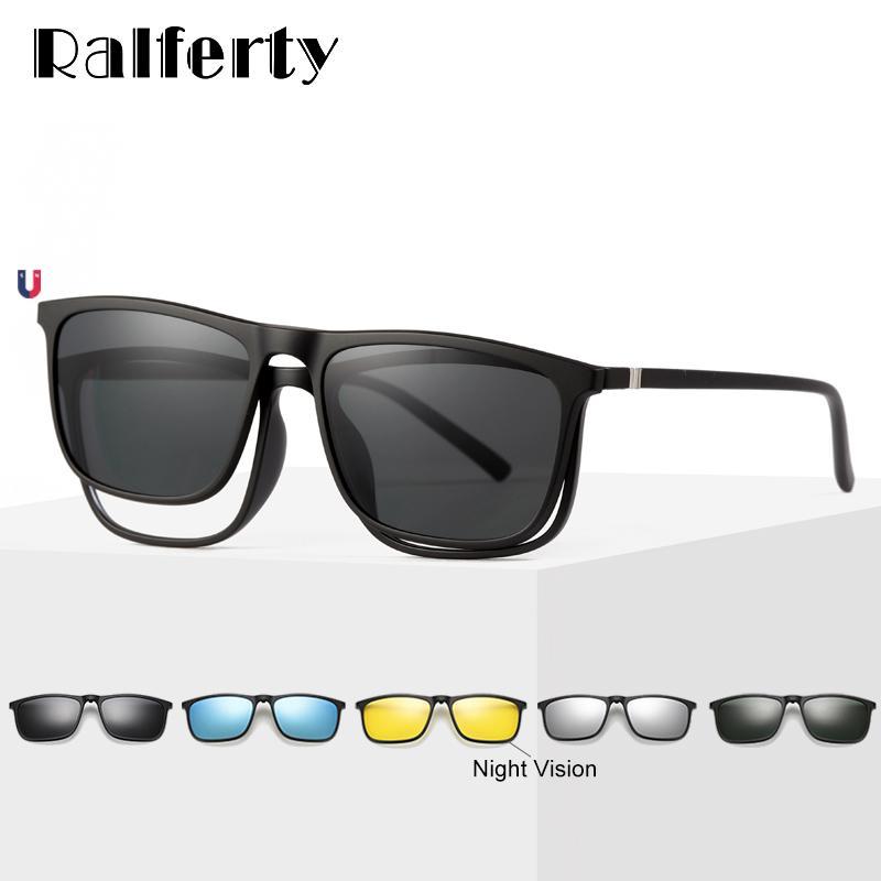 Herren Magnetische Sonnenbrille Five In 1 Polarisierte Sonnenbrillen Clip On Sonnenbrille Damen Ultraleichte Quadratische Sonnenbrille Nachtsicht A8804