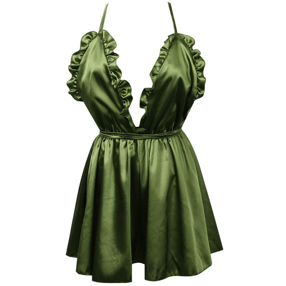النساء اللباس نمط الزهور عارية الذراعين مثير الملابس الداخلية الرباط الحرير البسيطة اللباس V الرقبة البيبي دول معطلة الكتف زائد الحجم اللباس