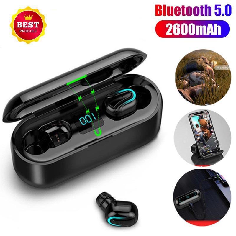 1 PCS Q32-1 portátil inalámbrico Bluetooth 5.0 TWS auricular en la oreja Sweatproof Sport Auriculares Auricular con micrófono digital caja de la carga