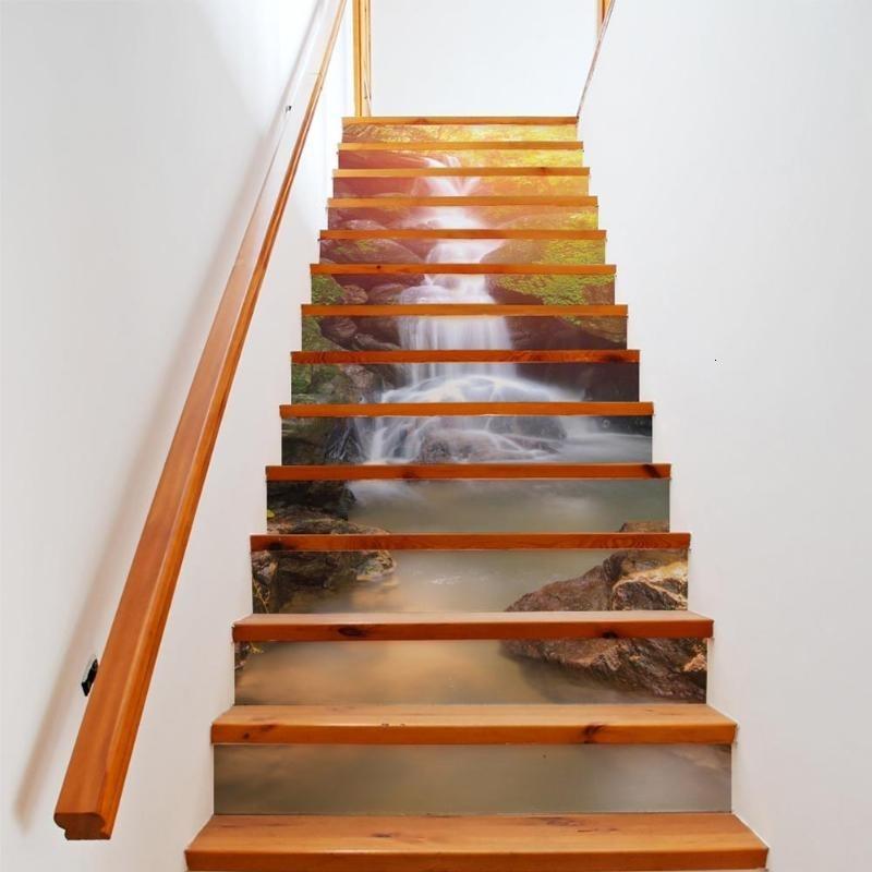 CJ191213 사절의 홈 장식 주점에서 Parede 파라에 대한 3D 계단 벽 스티커 선샤인 폭포 이동식 예술 스티커