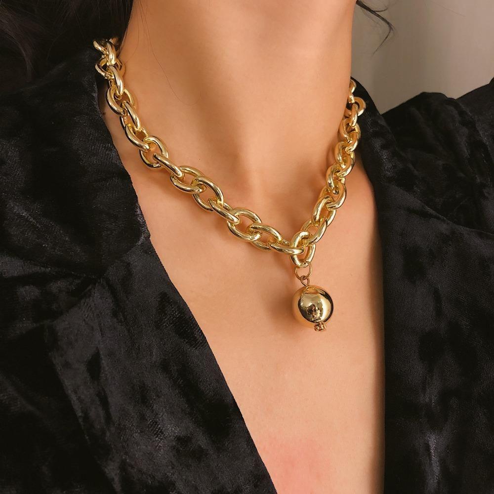 Runde Kugel-Halskette Frauen Statement Partei Schmuck Punkmetall hängende Halskette Art und Weise Großhandelsketten Bijoux Geschenk
