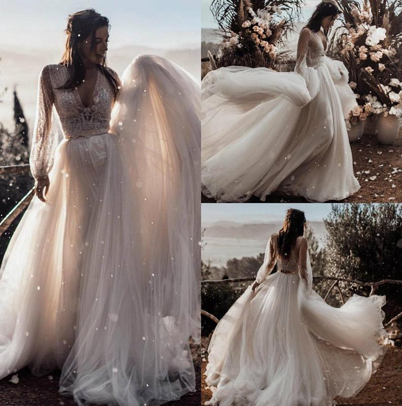 Lace Two Pieces 2020 Summer Beach Wedding Dresses Deep V-neck Long Sleeves Boho Bridal Dresses Cheap Wedding Gowns vestido de noiva