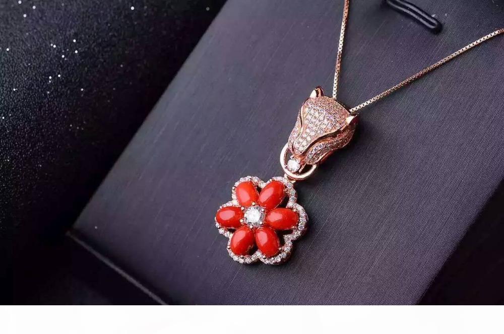 أحمر الطبيعية المرجانية جوهرة قلادة S925 الفضة والأحجار الكريمة الطبيعية قلادة العصرية ليوبارد فاخر الزهور النساء الهدايا والمجوهرات