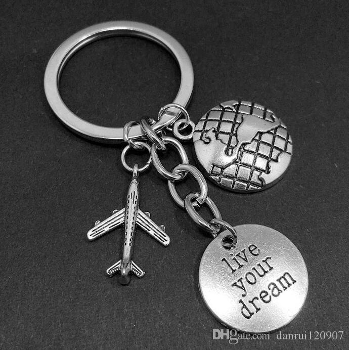 Tibetan silver Live your dream Pilot Dream Keychain Airplane Passport Travel charm pendant key chain ring DIY Fit Keychain 141