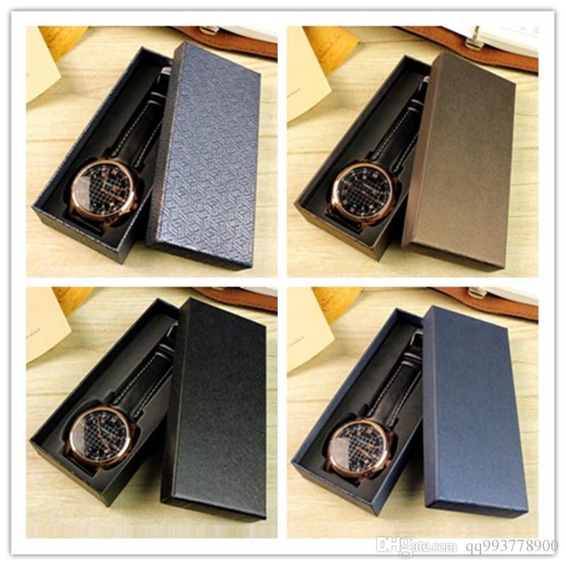 frete grátis Atacado qualidade superior nova marca grandes jóias azul clássico pulseira de couro caixas de matriz caixa de relógio de luxo marrom elegante embalagem