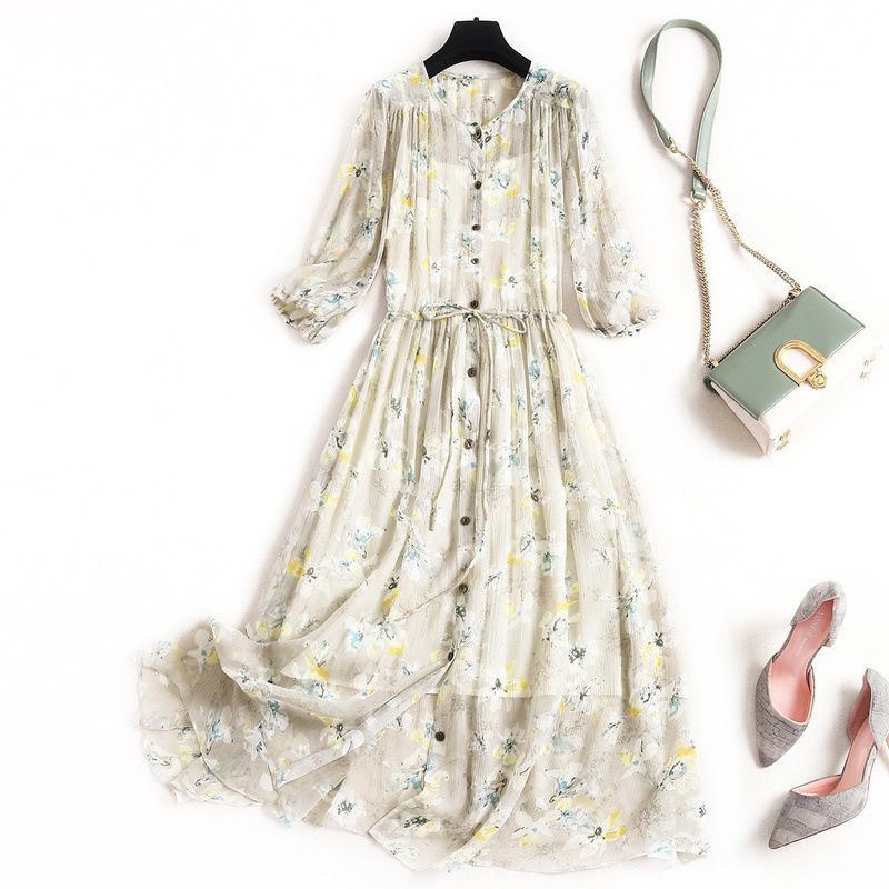 2020 الصيف Vestidos الجديدة الراقية الكورية أزياء المرأة شل الشيفون الحرير الأزهار المطبوعة 3/4 كم الكحول التعادل اللباس زائد الحجم