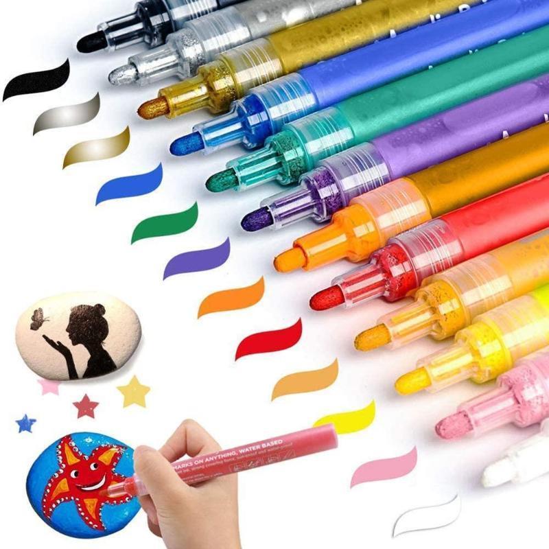 12шт/комплект акриловая краска маркер металлический Флэш-чернила на водной основе маркер ручки водонепроницаемый цвет подсветки Сделай сам дизайн кружки