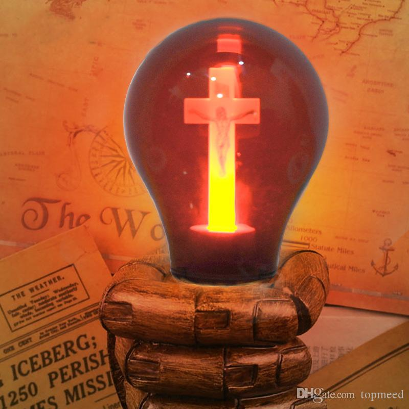 Hot E27 LED Bulb Red Flame Peaceful Mind Light Cross Jesus Church Bulb 90-265V Cathedral Bar Pray Hotel Square Decorative Lamp