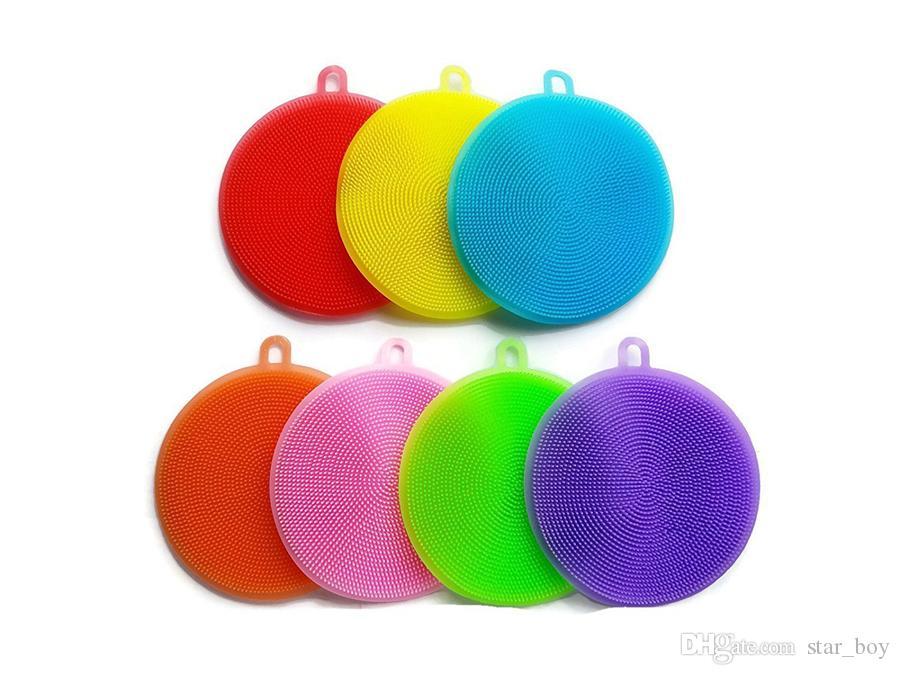 Accesorios de cocina de silicona se lava del plato Cepillo Cuenco Pan Pot Lave las escobillas de cocina herramienta del limpiador de ratón esponjas de fregado
