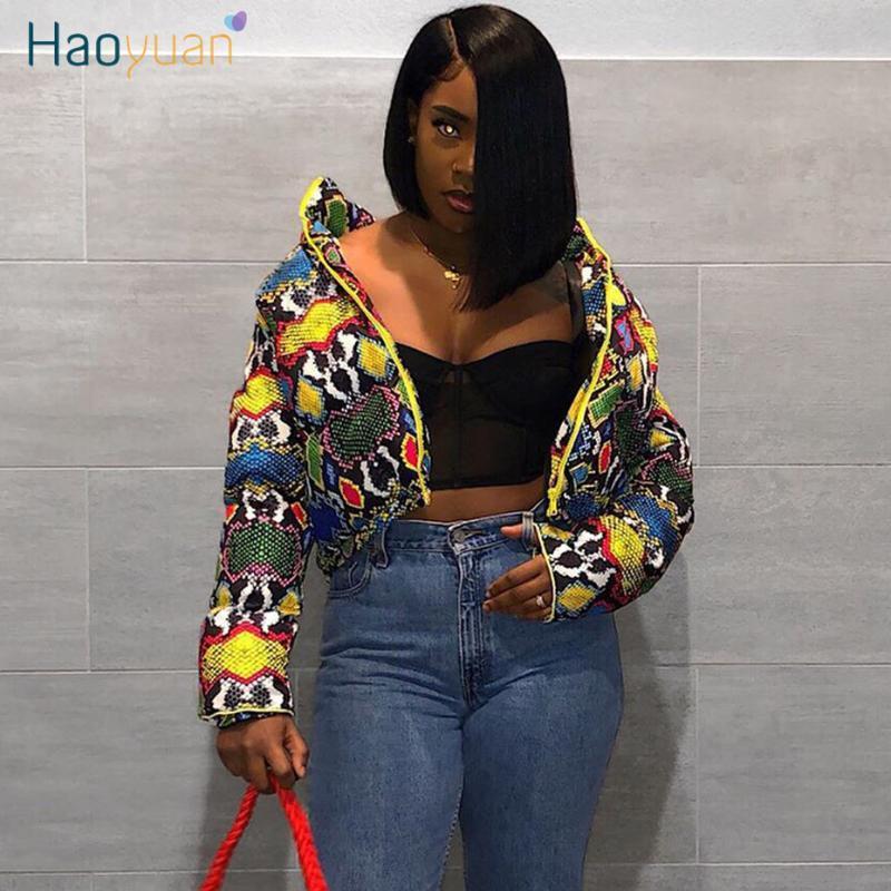 Haoyuan Colorful Stampa Giaccone Festival Abbigliamento Donna Giù Bubble Coat supera spesso caldo del parka della tuta sportiva Crop Giubbotto imbottito