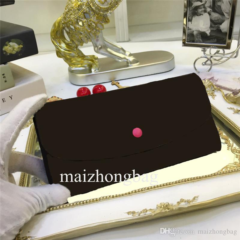 EMILIE M61289 # bolsa Buckle carteira mulheres sacos de carteira longa flor marrom bolsas de couro genuíno de feijão-de-rosa da embreagem