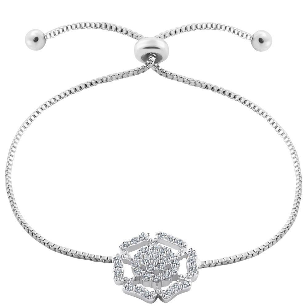 VOHE hohle Blumen-koreanische Armband-Frauen-Mode-Legierung KubikZircon justierbare Armbänder für Mädchen Hochzeit Schmuck