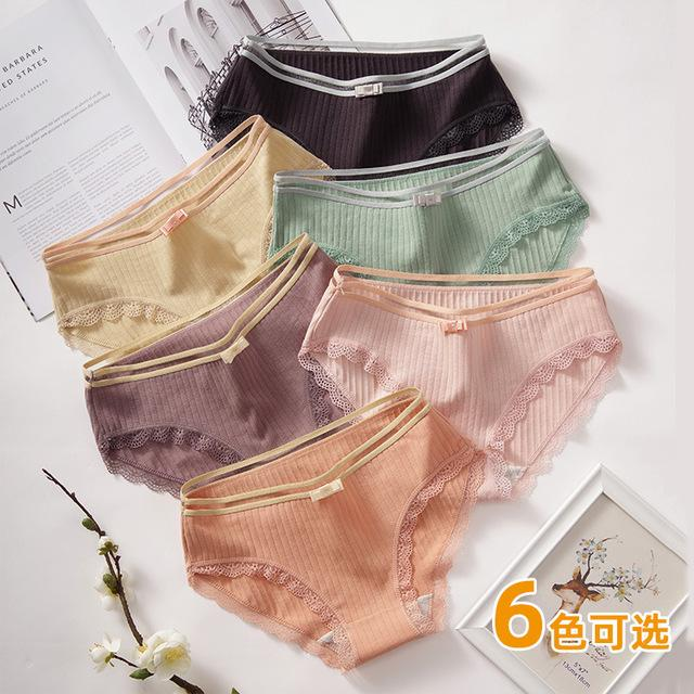 Pure cotton women's underwear combination wholesale Japanese fish silk girls' underwear lace lace bow women's briefs