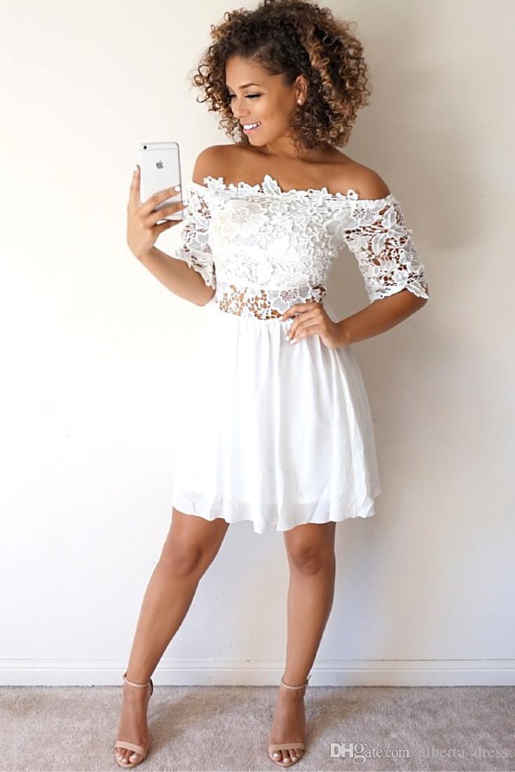 Compre Vestidos Cortos De Fiesta Blancos Vestidos De Fiesta Vestidos De Fiesta De Otoño Otoño A 6803 Del Albertadress Dhgatecom