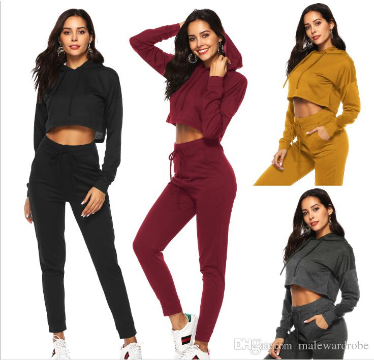Spring Women Sport Suit Running Yoga Sets 2019 Gym Fashion Sportswear Jogging Suits High Waist Long Sleeve Hooded Cropped Sweatshirt Suit