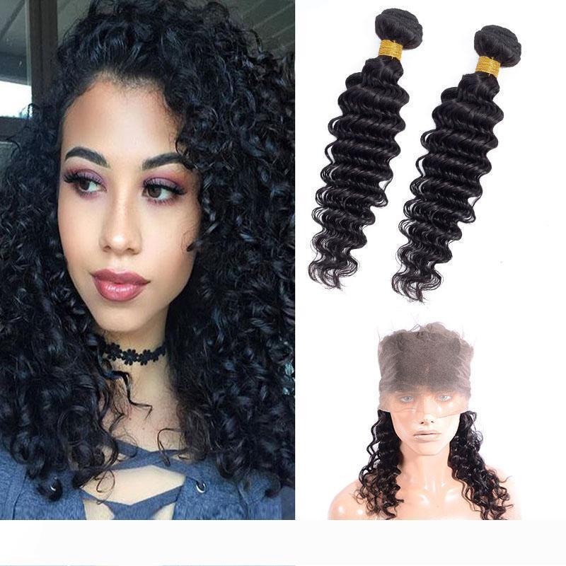 Virgin Hair 2 Bundles Indian Avec 360 Lace Frontal réglable bande vague profonde Bundles Avec 360 8-28inch Frontal bébé cheveux