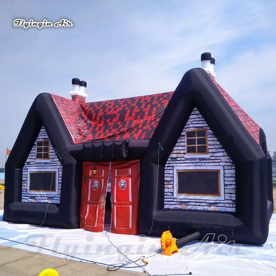 Надувная надувная деревенский паб дом 8м сад садовые кемпинг палатка воздух вздутый ирландский бар для питьевой партии украшения