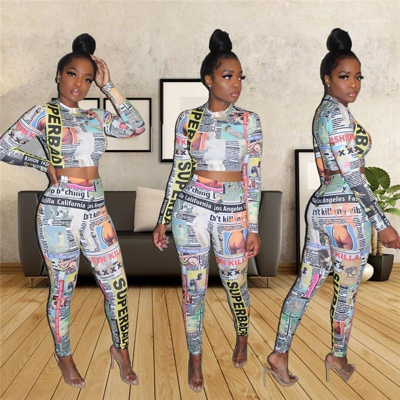 Printed Survêtements Casual Slim Femme Vêtements Femmes Mode Designer 2pcs Costume numérique