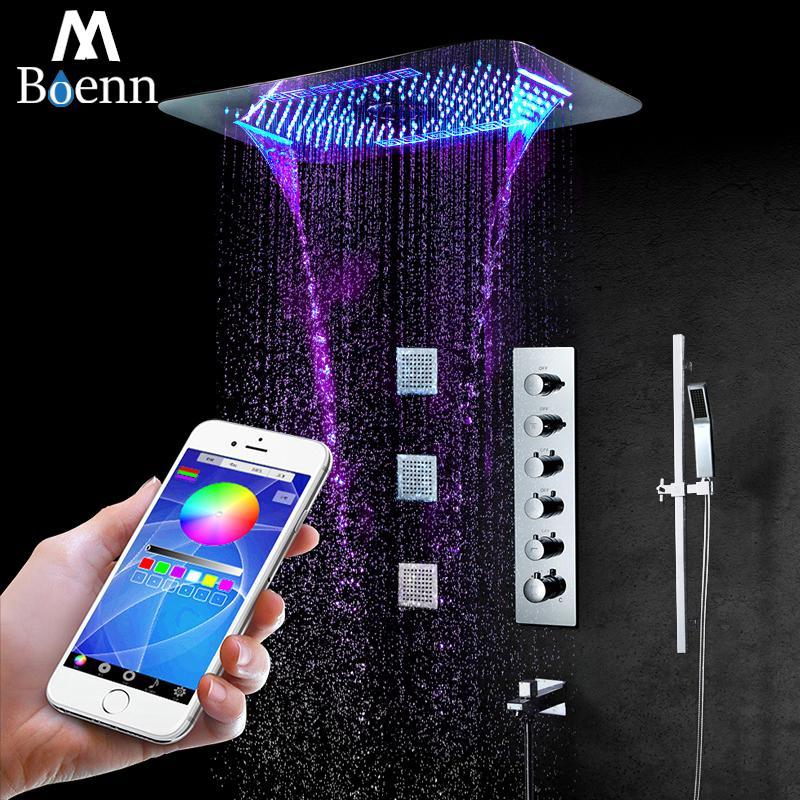 M Boenn ванной Светодиодная насадка для душа Система аксессуары кран потолка из нержавеющей стали Showerhead Термостатический клапан душ дождь Набор