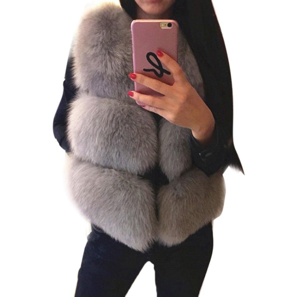 New Women Faux Fur Vest Coat Winter Thick Warm Hairy Luxury  Fur Jacket Outwear Gilet Female Solid Overcoat Colete Feminino
