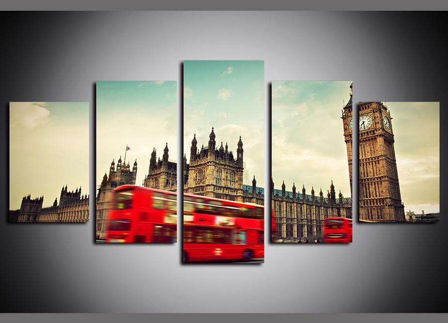 5 Painéis Pinturas Tela Prints arte de rua Red Bus Edifícios da Cidade de Big Seja paisagem do óleo paintngs sobre tela giclée Pictures Wall Decor