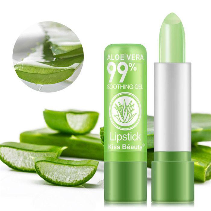 Beijo Beleza Aloe Vera Batom Úmido Mudança de Cor Senhora Hidratante Labial de Longa Duração Geléia de Geléia Livre DHL 60 pcs