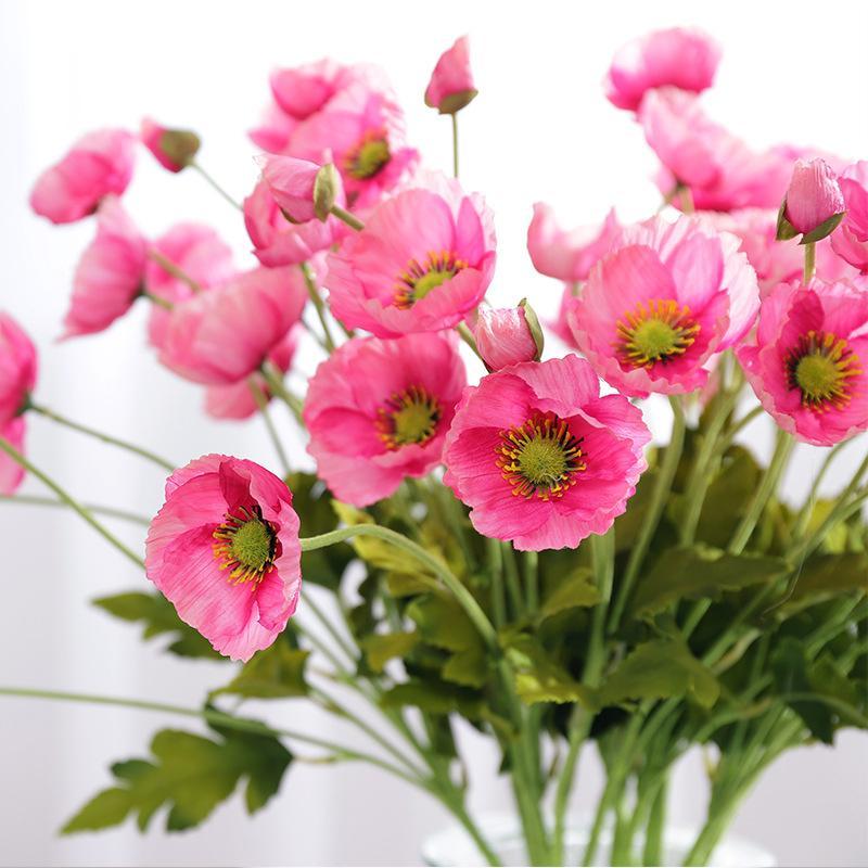 4 Tete / branche Fleurs de pavot avec feuilles Fleur artificielle fleurs artificielles pour Home party Decoration flores Coquelicots
