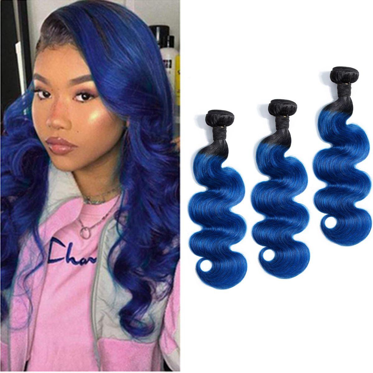 Malaysian Human Hair 1B/Blue Ombre Virgin Hair 3 Bundles Body Wave 1B Blue Hair Extensions 12-28inch