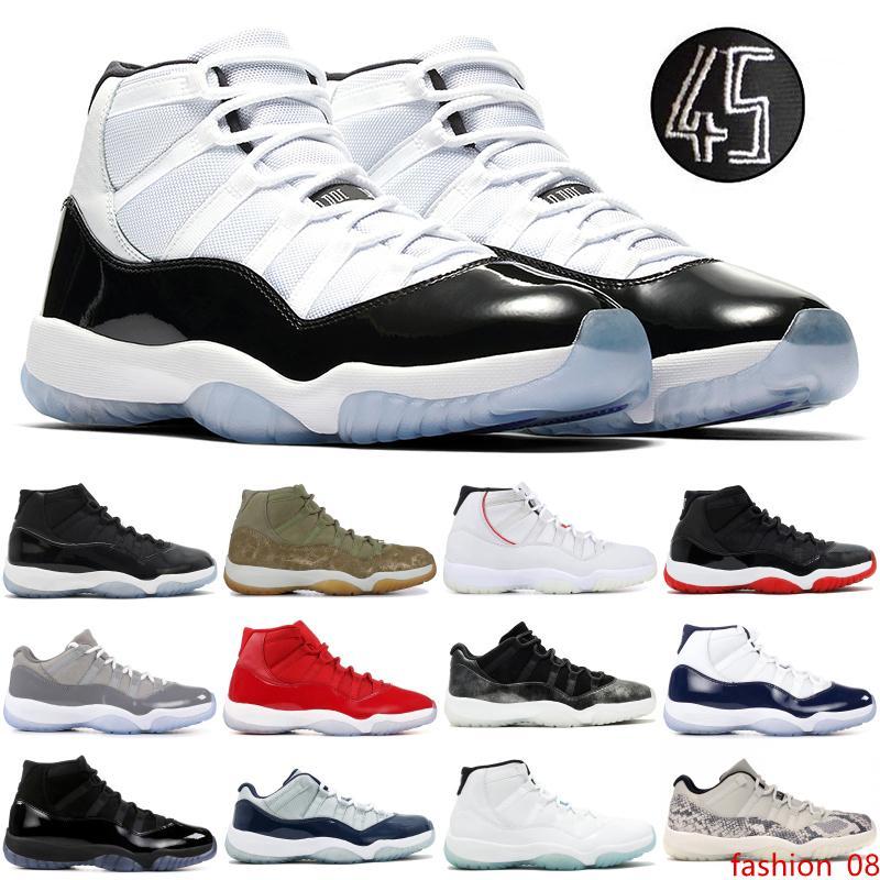 Мужские 11С Jampman высокой Конкорд 45 платиновый оттенок баскетбол обувь низкого змея кость темно-светло-серый Космический джем дизайнер тренеры 5.5-12