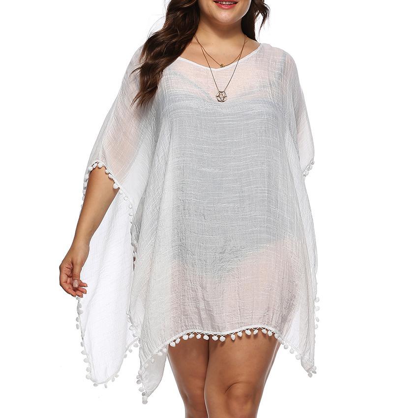 Compre Verano De Las Mujeres Tallas Grandes Blusas De Playa Senora Solido Sexy Crochet Gasa Bikini Traje De Bano Cover Up Beach Dress Ropa De Playa Ropa Top A 12 96 Del
