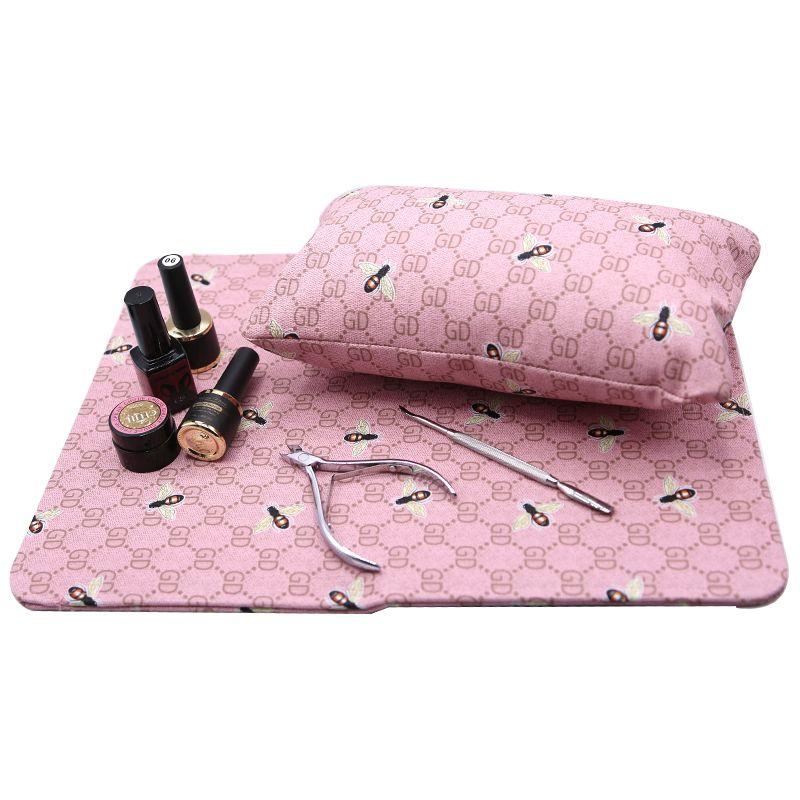 1 Conjunto Mão Descansa Travesseiro Titular Da Mão Almofada Mat Mesa Manicure Nail Art Pad Dobrável Equipamentos Laváveis