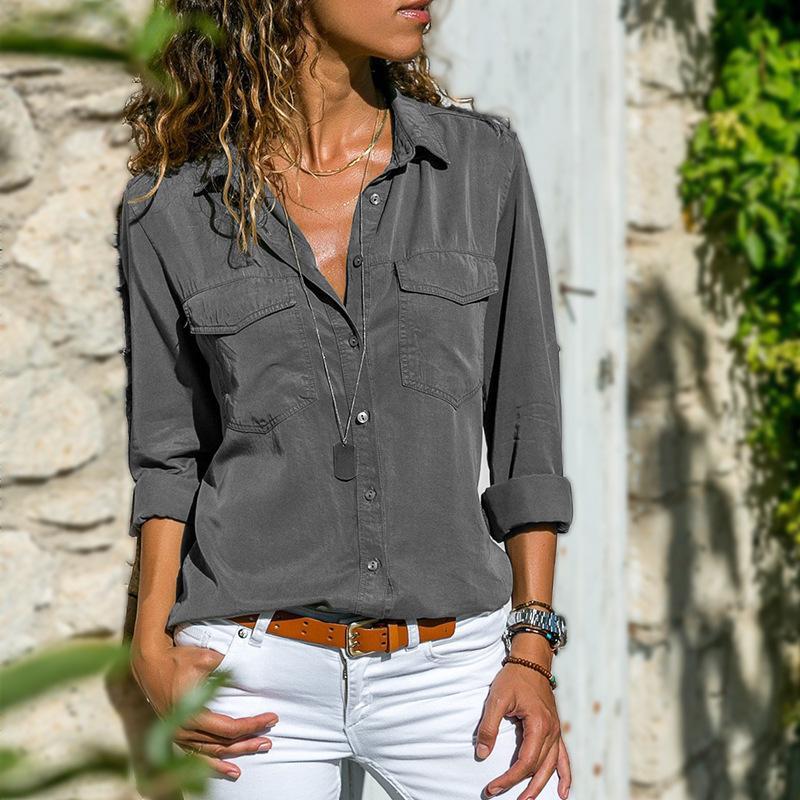 Februaryfrost Women Turn Down Collar Plus Shirts Fashion Long Sleeve Tops V Neck Blouse S-5XL