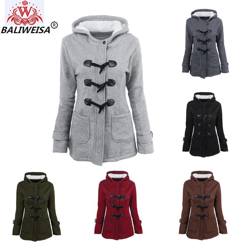 Manteau d'hiver Femmes 2019 Nouveau Casual Capuche d'extérieur Horn Horn Bouton Zipper en laine Veste Femmes épais Coton chaud Coton Long manteau S-6x