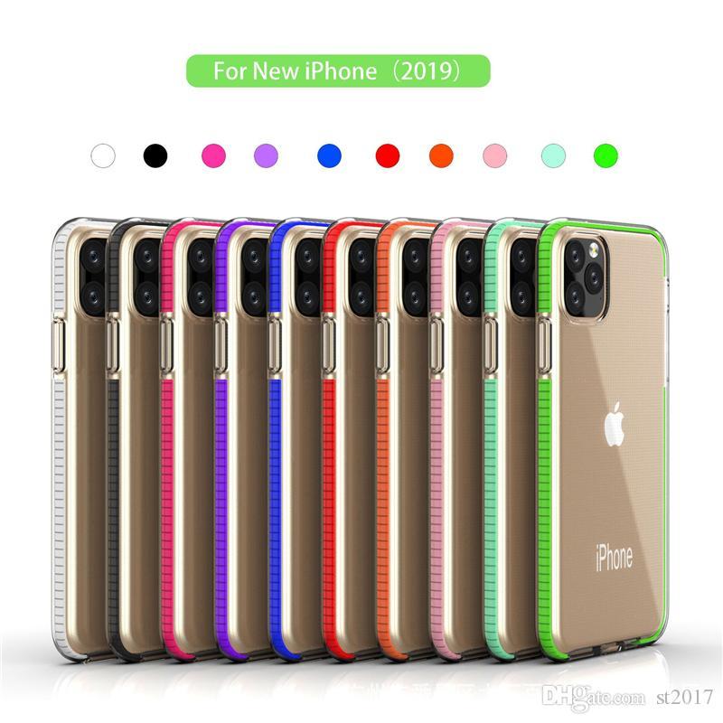 Deux tons clair TPU téléphone portable armure hybride cas anti-choc pour iPhone 11 Pro Max X XS XR Max 7 8 6 plus Samsung Note 10 S10 plus
