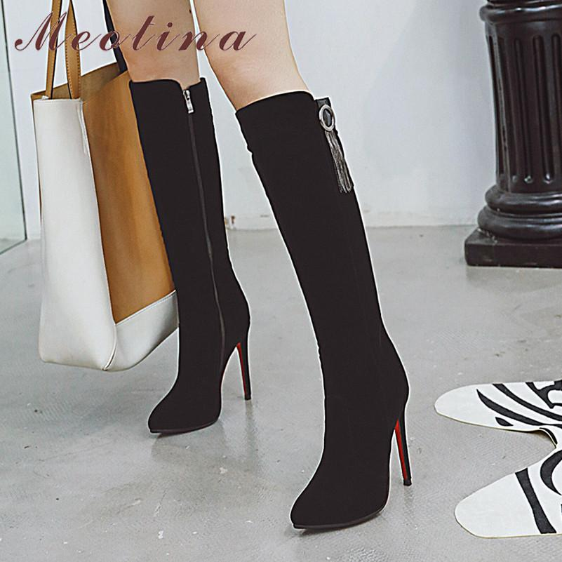 Yanvan Womens Fashion Ankle Boot Pointed Toe Zipper Suede Thick Heel Non-Slip Shoes Ankle Boots