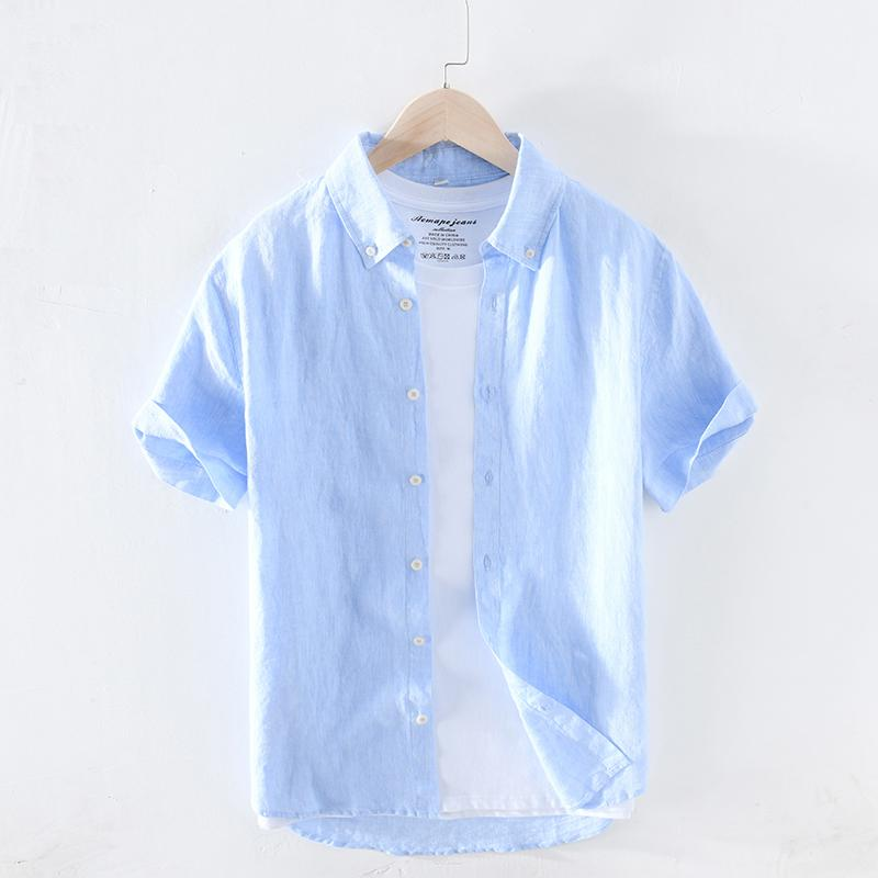 2020 Spring Summer New Pure Linen Cotton Shirts Men Cool Breathable Classic Basic Blue Shirt Male High Quality Y2627