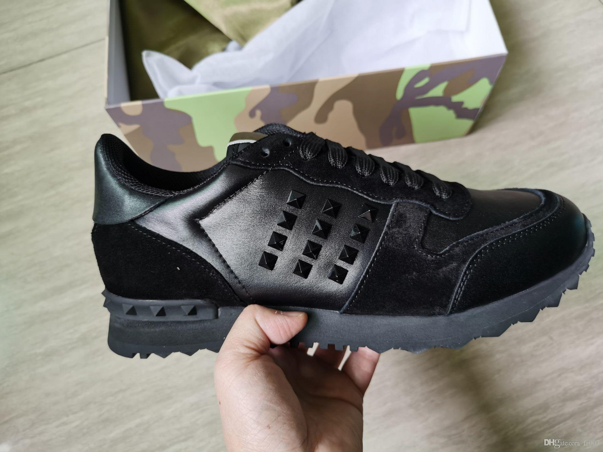 Stud Rockrunner Camouflage addestratori Designer scarpe rete vera pelle Combo roccia scarpe da tennis per gli uomini donne scarpe casuali suola di gomma con la scatola
