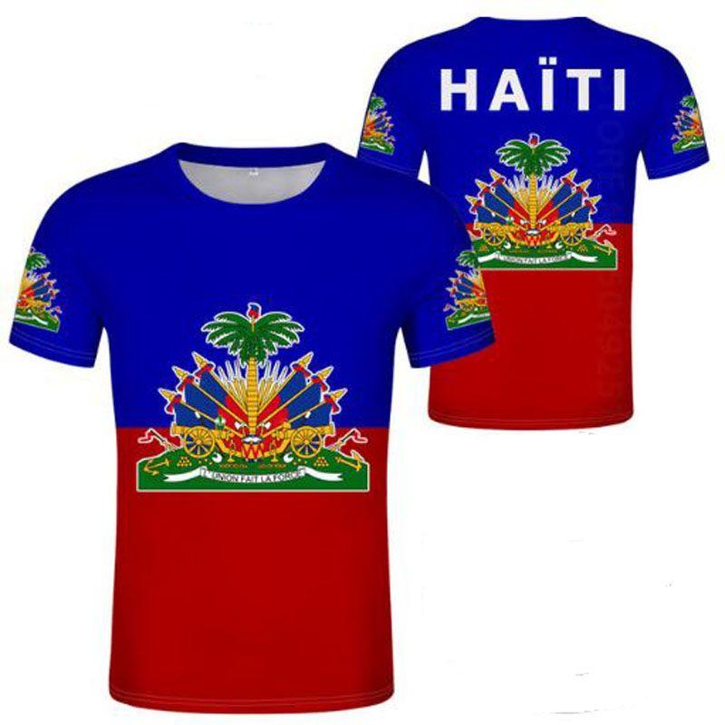 frei nach Maße Name Zahl T-Shirt Flagge beiläufigen T-Shirt Druck von Fotos Junge Haiti männlichen Jugend Student Kleidung