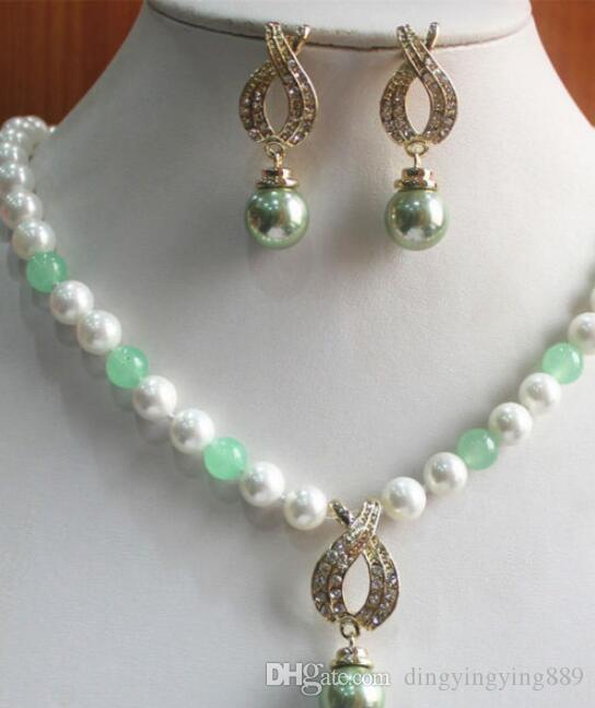 jóias gratuito Novo Design 8 milímetros branco e verde Pérola / Jade Colar Brinco Pingente Jóias