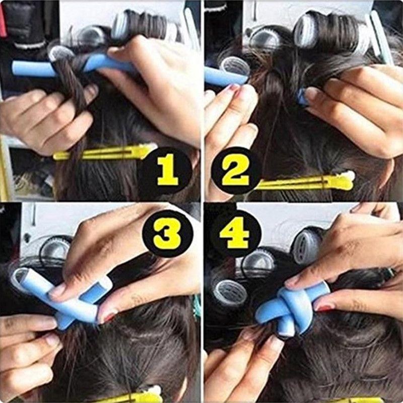 Magic Hair Roller Curlers Hair Curling Irons Soft Foam Sponge Bendy Twist Magic Flexi Rods DIY Styling Hair Sticks Tool