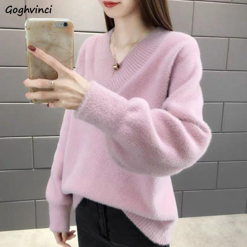 свитера женщин зима v-образный вырез толстых пуловеров поддельной норка кашемир женская элегантные тонкие модное все-матч в корейский стиле случайного шика