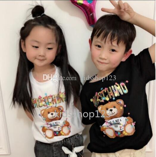 Los niños del nuevo diseñador de dibujos animados camiseta de la muchacha del verano Tops inconformista camisetas camisetas traje Niños ropa de moda camiseta