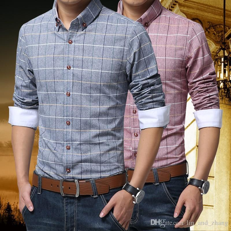 erkek gömlekler Yeni Kaplıca Casual Erkek Gömlek Pamuklu Keten Erkek Elbise Gömlek Slim Fit Ekose Gömlek Uzun kollu CAMISAS MC127