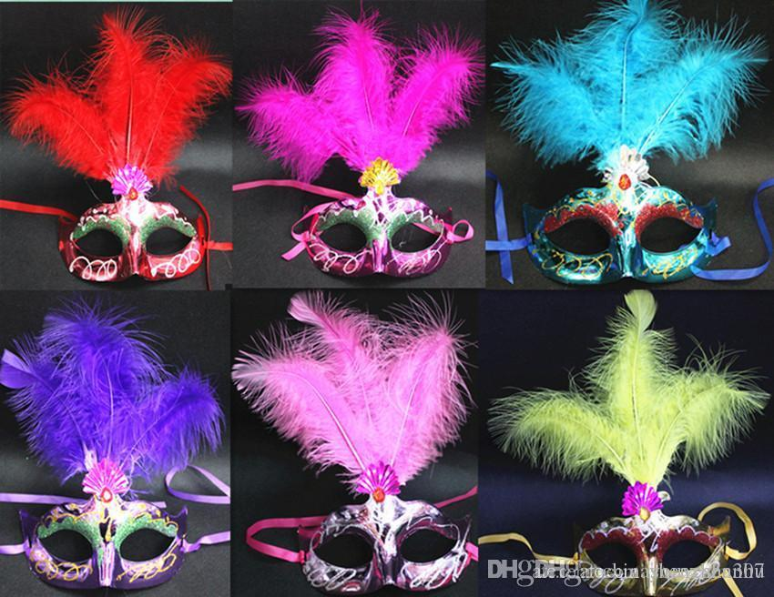 2019 In Stock feather masquerade decorations masks for masquerade ball maskmasquerade masks masquerade masks ON A STICK SILVER