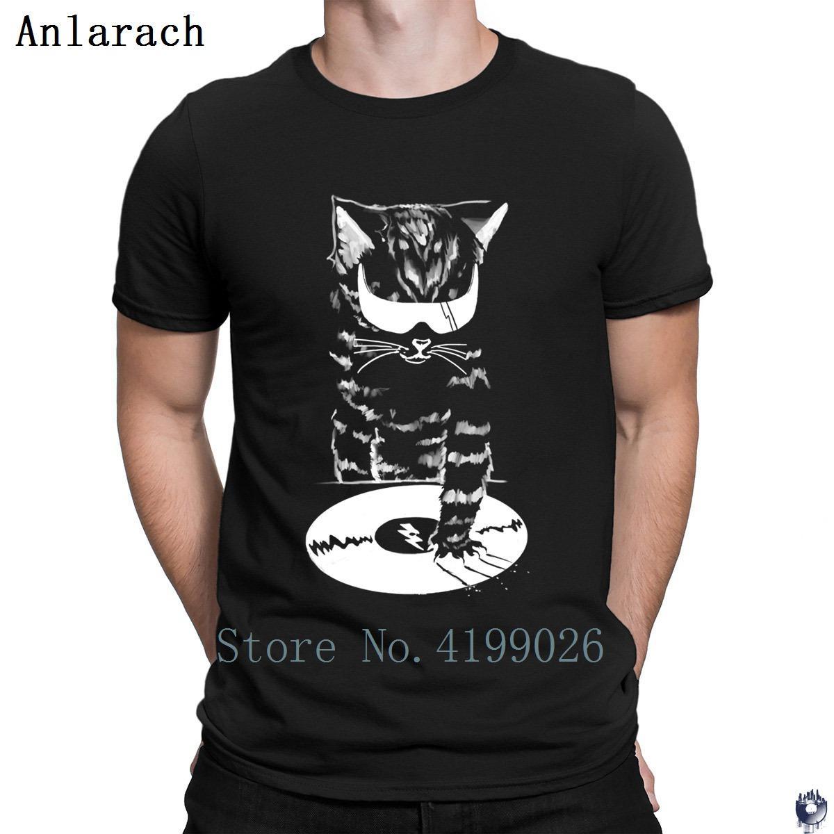 DJ Scratch cat magliette divertente estate fresca di base maglietta degli uomini di Solid girocollo migliore parte superiore del T Anlarach personalizzato