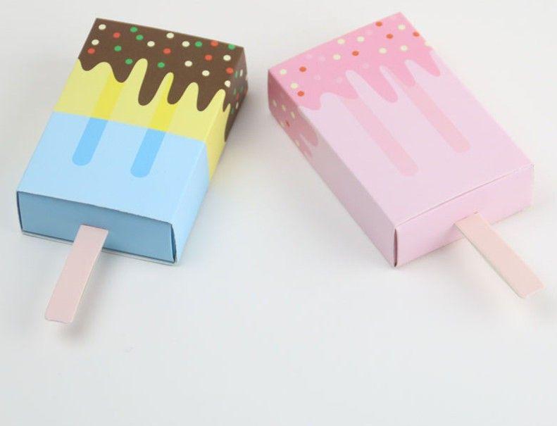50 Forma de las PC del helado Ducha Caja de regalo de caramelo bebé fiesta de cumpleaños favorece las cajas de cajón de paleta bautismo Azúcar caja de papel Niños