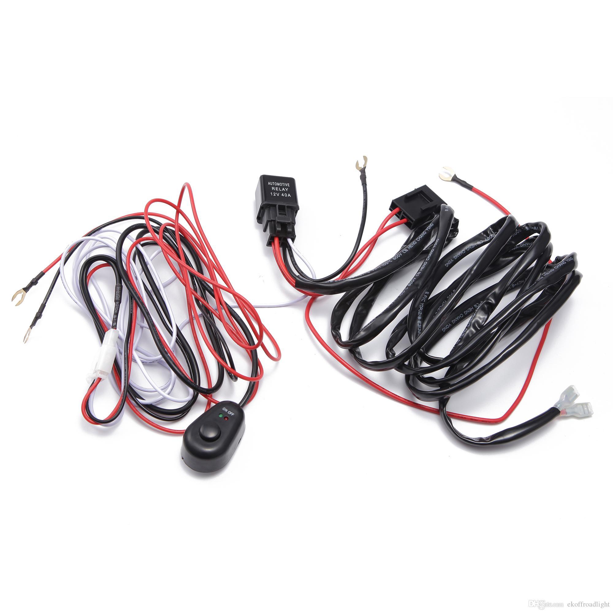 ECAHAYAKU Carro LED Barra de Luz Fio 2 M 12 v-24 v 40A Kit de cabos de tear de relé de cablagem Fusível para condução automática Off-road Led Lâmpada de trabalho