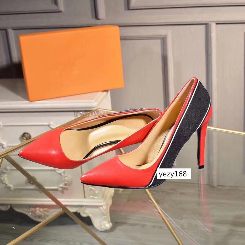 с коробками женская обувь на высоких каблуках 10 см черный красный кожаный Острый носок насосы низы платья обувь US 6