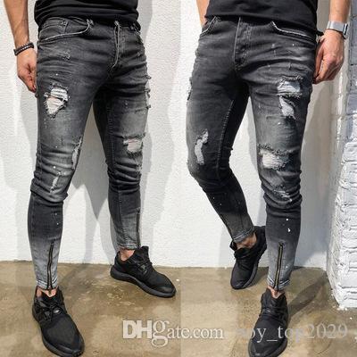 Новый 2019 сезоны взрыв тощий мужские джинсы носить подросток ноги молния мужские джинсы брюки NK52 Бесплатная доставка